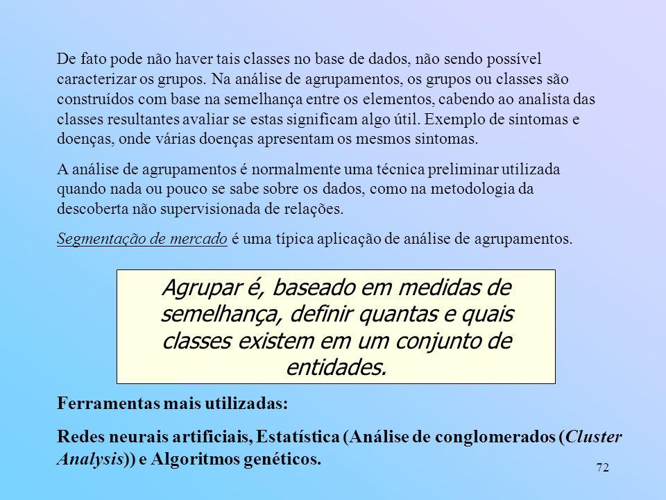 72 De fato pode não haver tais classes no base de dados, não sendo possível caracterizar os grupos. Na análise de agrupamentos, os grupos ou classes s