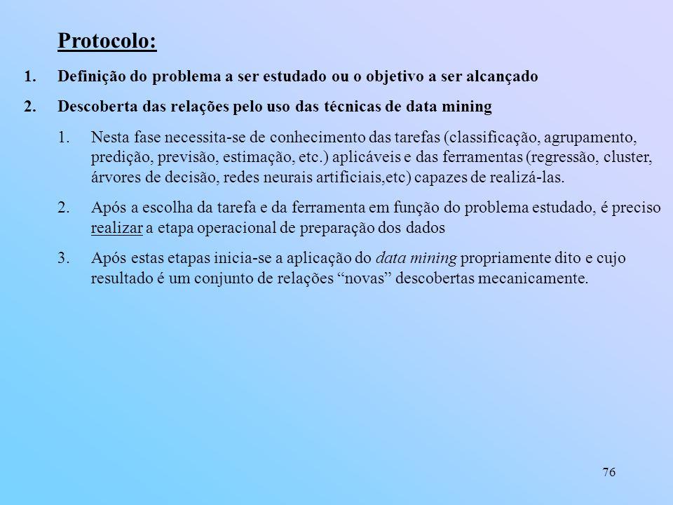 76 Protocolo: 1.Definição do problema a ser estudado ou o objetivo a ser alcançado 2.Descoberta das relações pelo uso das técnicas de data mining 1.Ne
