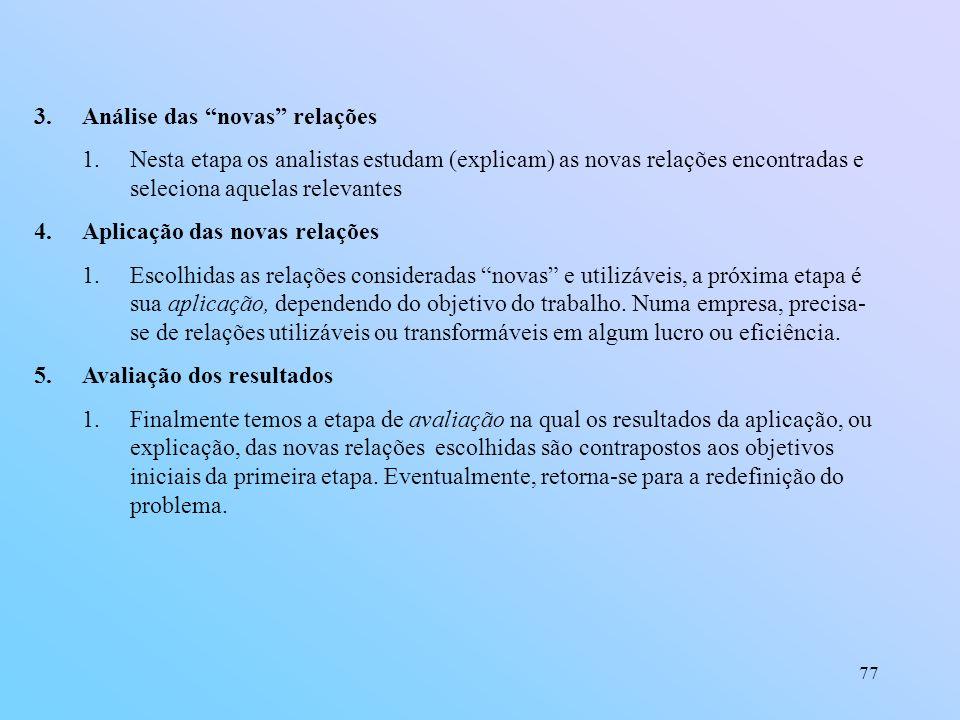 77 3.Análise das novas relações 1.Nesta etapa os analistas estudam (explicam) as novas relações encontradas e seleciona aquelas relevantes 4.Aplicação