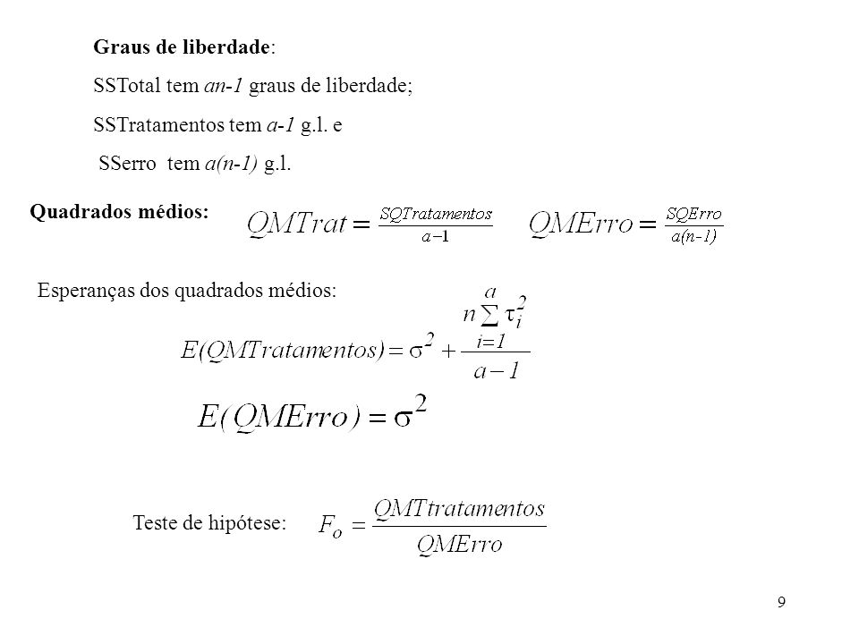 70 O modelo estatístico: Onde i é o efeito do i-ésimo tratamento e j é o efeito da j-ésima unidade.
