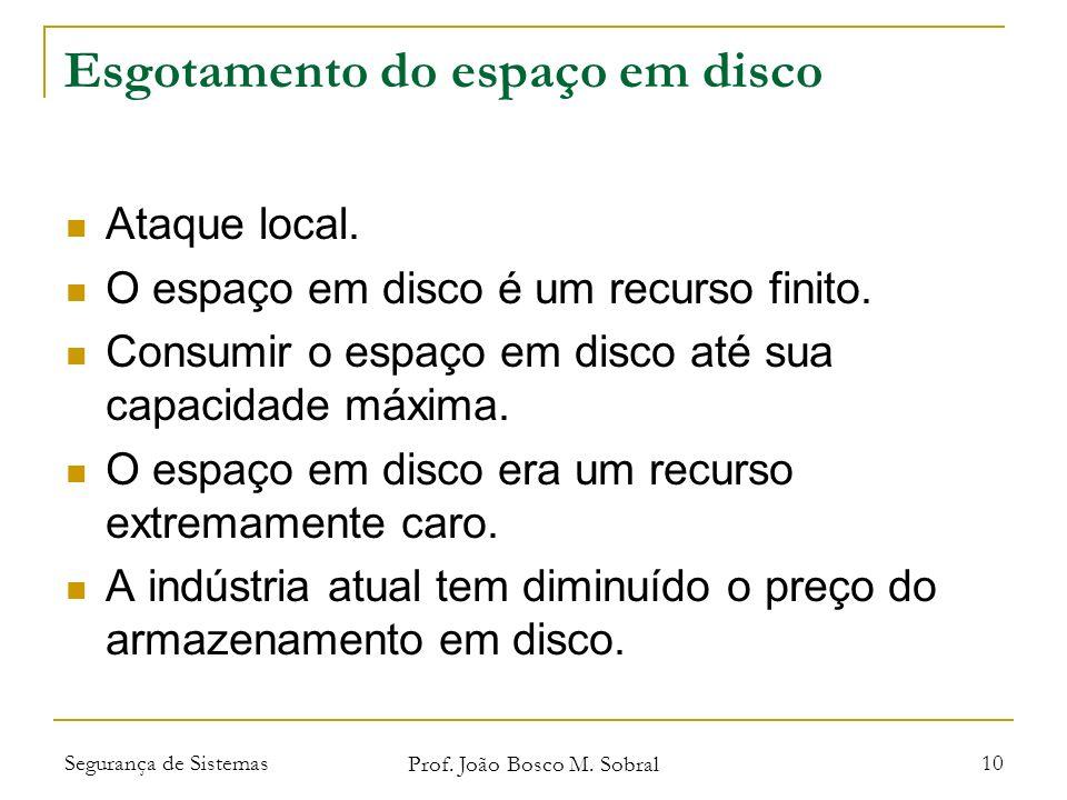 Segurança de Sistemas Prof. João Bosco M. Sobral 10 Esgotamento do espaço em disco Ataque local.