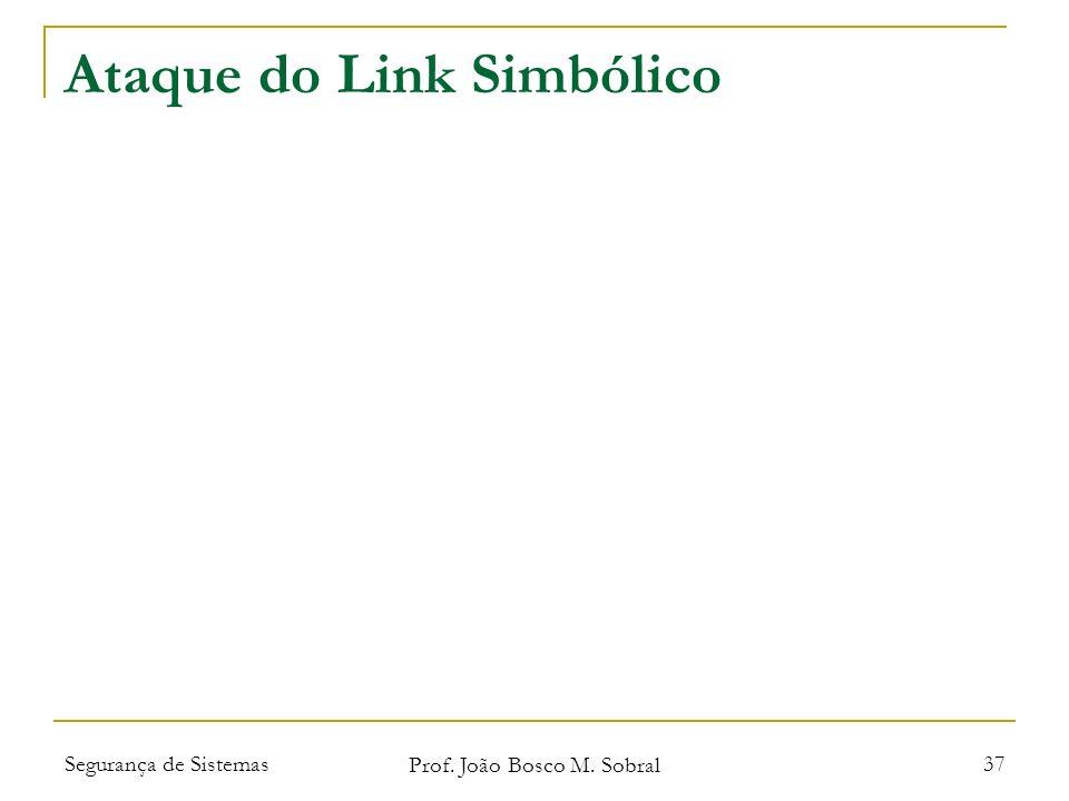 Segurança de Sistemas Prof. João Bosco M. Sobral 37 Ataque do Link Simbólico