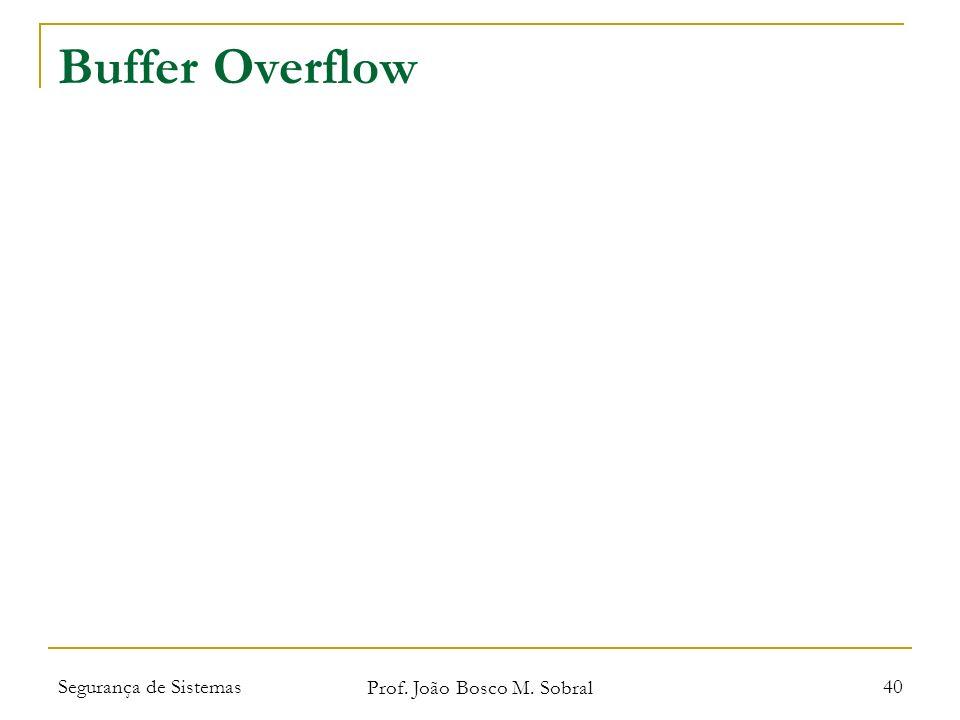 Segurança de Sistemas Prof. João Bosco M. Sobral 40 Buffer Overflow