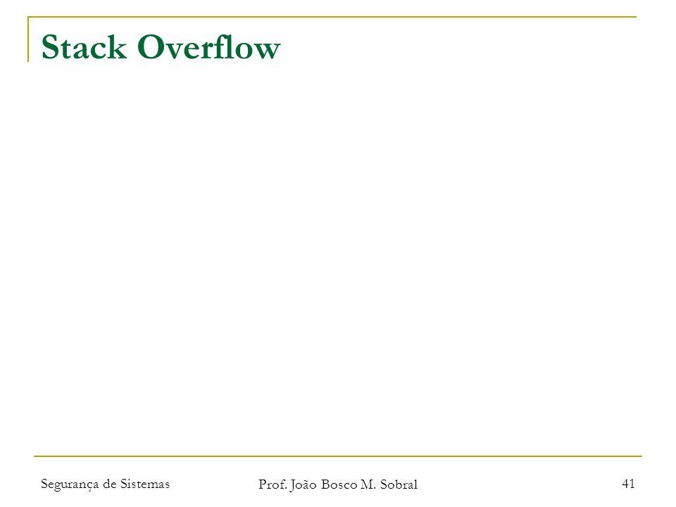 Segurança de Sistemas Prof. João Bosco M. Sobral 41 Stack Overflow