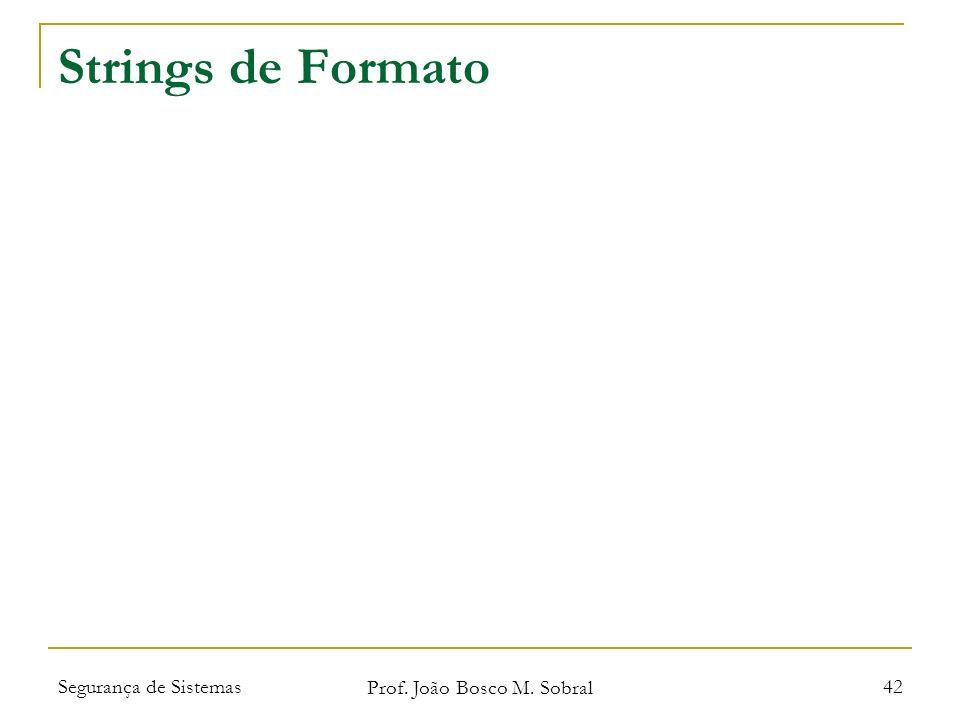 Segurança de Sistemas Prof. João Bosco M. Sobral 42 Strings de Formato