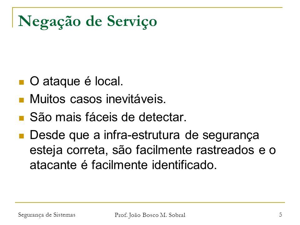 Segurança de Sistemas Prof. João Bosco M. Sobral 5 Negação de Serviço O ataque é local.