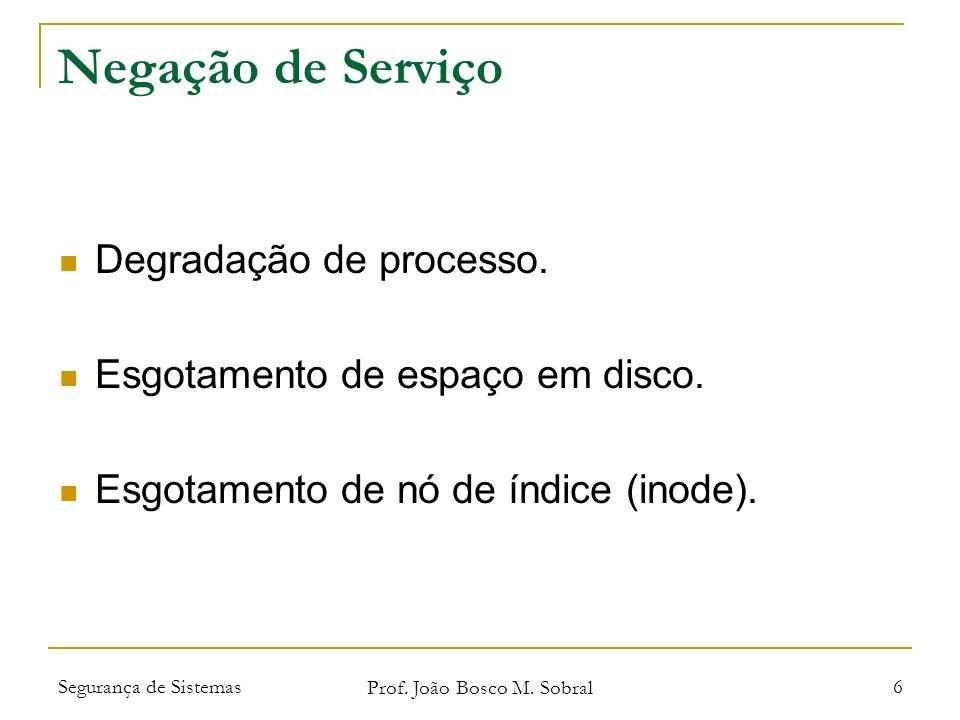 Segurança de Sistemas Prof. João Bosco M. Sobral 6 Negação de Serviço Degradação de processo.