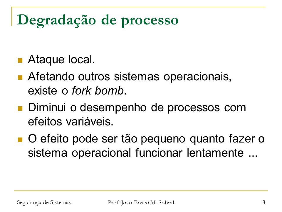 Segurança de Sistemas Prof. João Bosco M. Sobral 8 Degradação de processo Ataque local.
