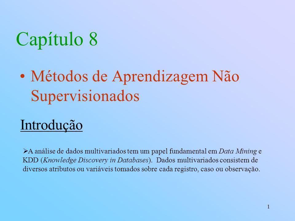 1 Capítulo 8 Métodos de Aprendizagem Não Supervisionados Introdução A análise de dados multivariados tem um papel fundamental em Data Mining e KDD (Knowledge Discovery in Databases).