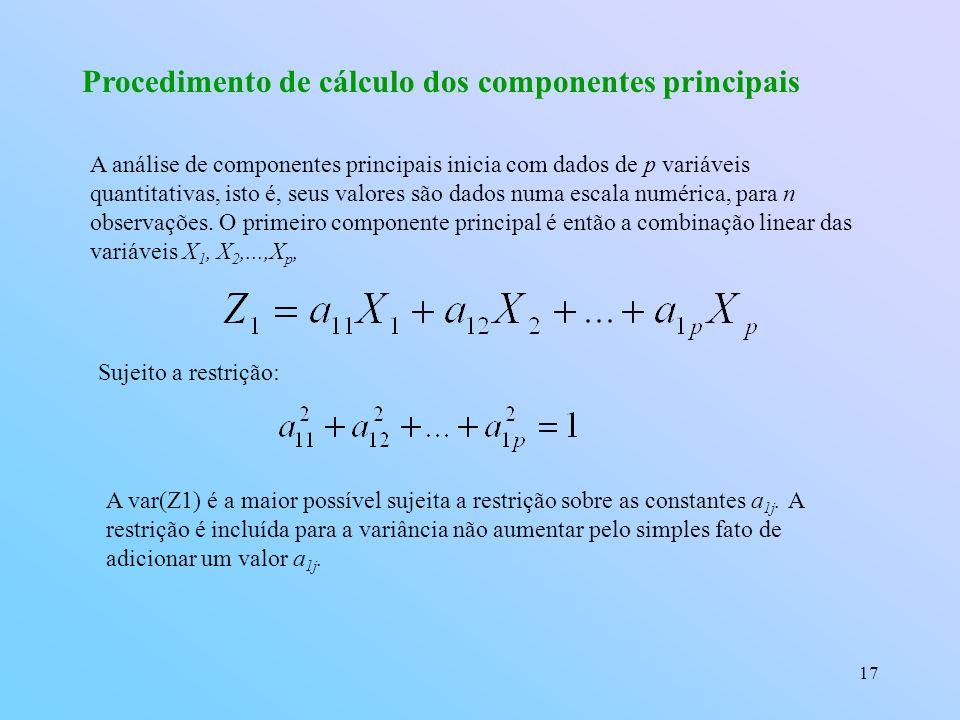 17 Procedimento de cálculo dos componentes principais A análise de componentes principais inicia com dados de p variáveis quantitativas, isto é, seus valores são dados numa escala numérica, para n observações.