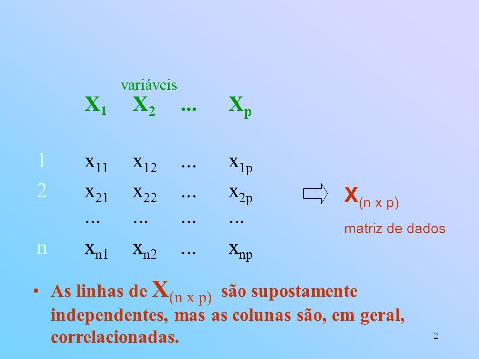 2 X 1 X 2...X p 1x 11 x 12...x 1p 2x 21 x 22...x 2p............