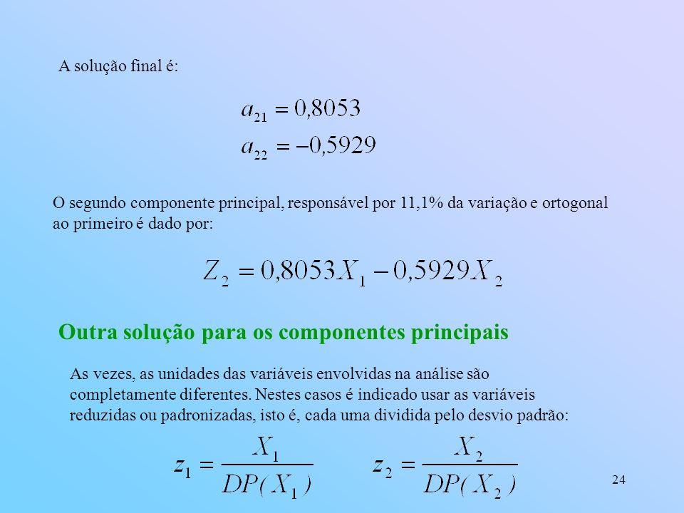 24 A solução final é: O segundo componente principal, responsável por 11,1% da variação e ortogonal ao primeiro é dado por: Outra solução para os componentes principais As vezes, as unidades das variáveis envolvidas na análise são completamente diferentes.