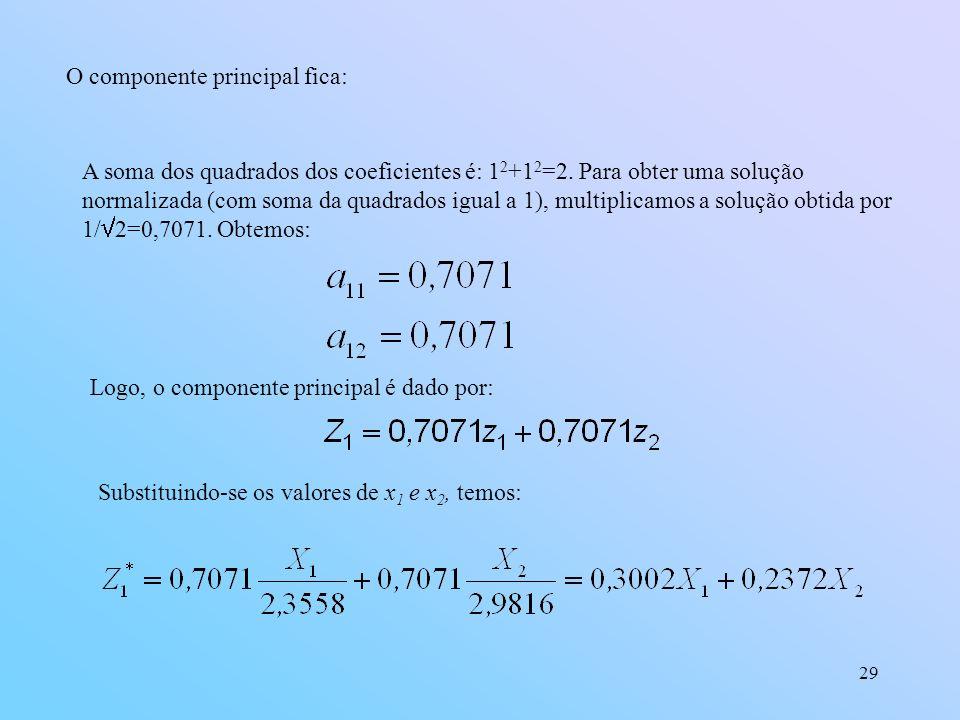 29 O componente principal fica: A soma dos quadrados dos coeficientes é: 1 2 +1 2 =2.