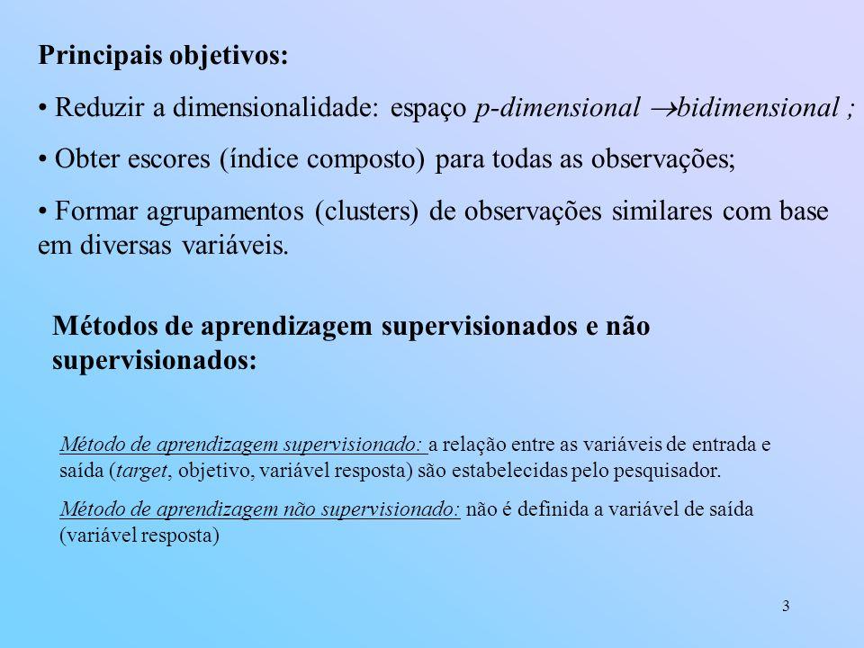 3 Principais objetivos: Reduzir a dimensionalidade: espaço p-dimensional bidimensional ; Obter escores (índice composto) para todas as observações; Formar agrupamentos (clusters) de observações similares com base em diversas variáveis.
