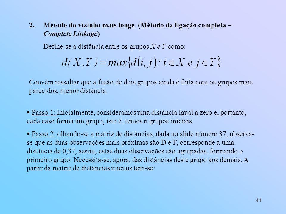 44 2.Método do vizinho mais longe (Método da ligação completa – Complete Linkage) Define-se a distância entre os grupos X e Y como: Convém ressaltar que a fusão de dois grupos ainda é feita com os grupos mais parecidos, menor distância.