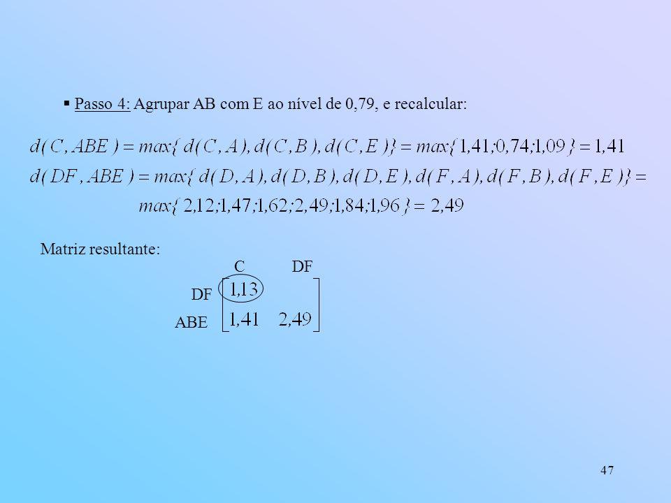 47 Passo 4: Agrupar AB com E ao nível de 0,79, e recalcular: Matriz resultante: DF ABE C DF