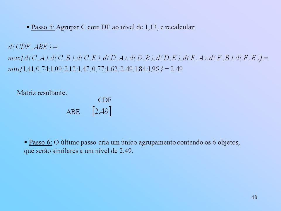 48 Passo 5: Agrupar C com DF ao nível de 1,13, e recalcular: Matriz resultante: ABE CDF Passo 6: O último passo cria um único agrupamento contendo os 6 objetos, que serão similares a um nível de 2,49.
