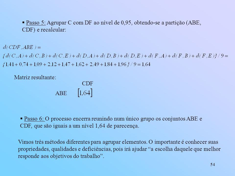 54 Passo 5: Agrupar C com DF ao nível de 0,95, obtendo-se a partição (ABE, CDF) e recalcular: Matriz resultante: ABE CDF Passo 6: O processo encerra reunindo num único grupo os conjuntos ABE e CDF, que são iguais a um nível 1,64 de parecença.