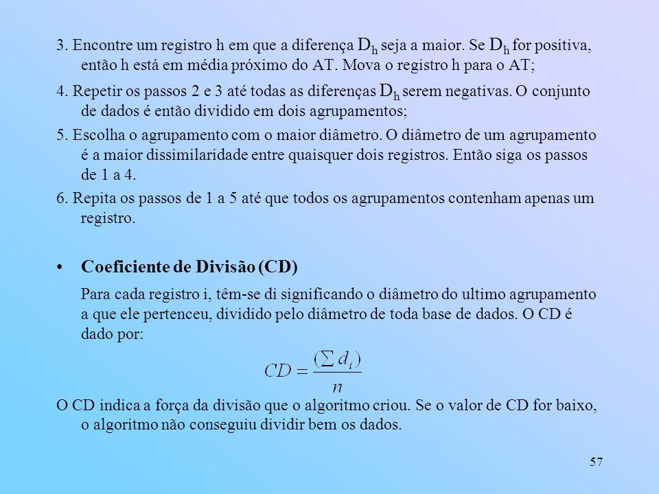 57 3.Encontre um registro h em que a diferença D h seja a maior.