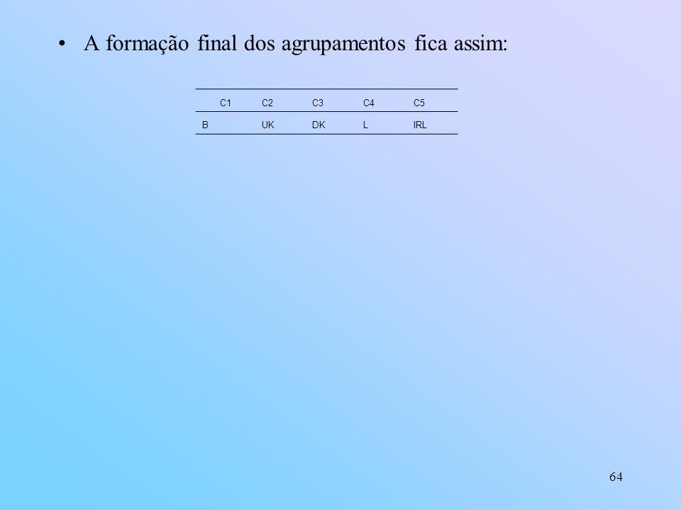64 A formação final dos agrupamentos fica assim: C1C2C3C4C5 BUKDKLIRL
