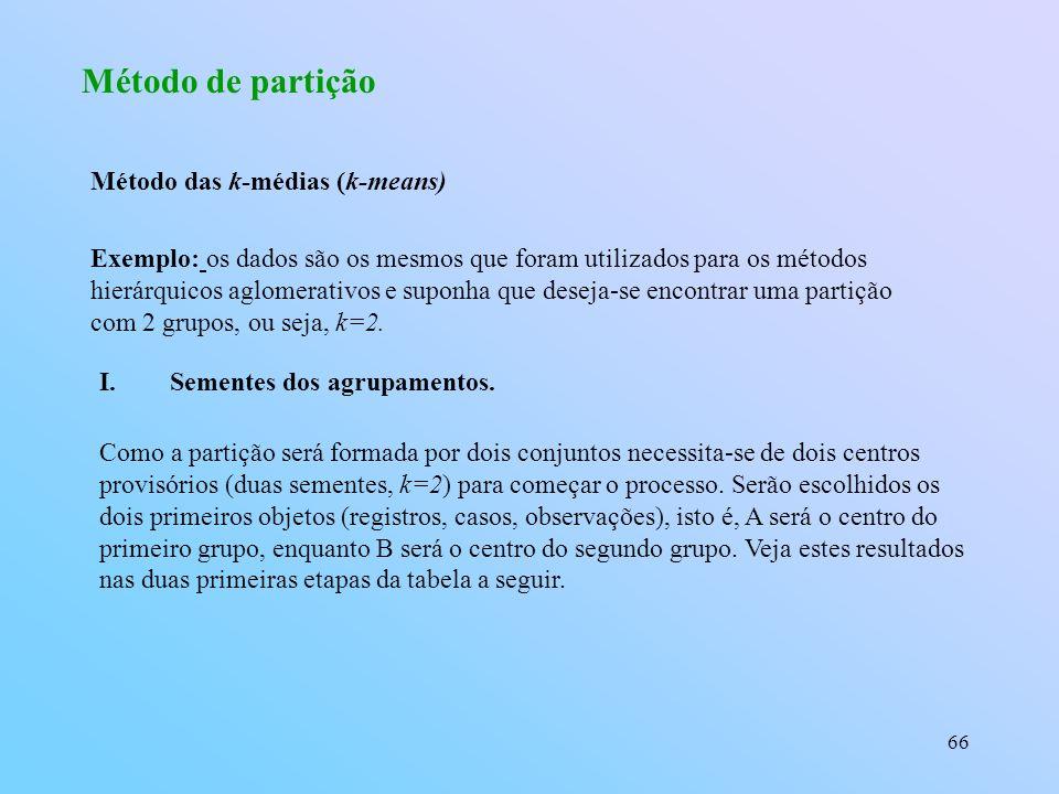 66 Método de partição Exemplo: os dados são os mesmos que foram utilizados para os métodos hierárquicos aglomerativos e suponha que deseja-se encontrar uma partição com 2 grupos, ou seja, k=2.
