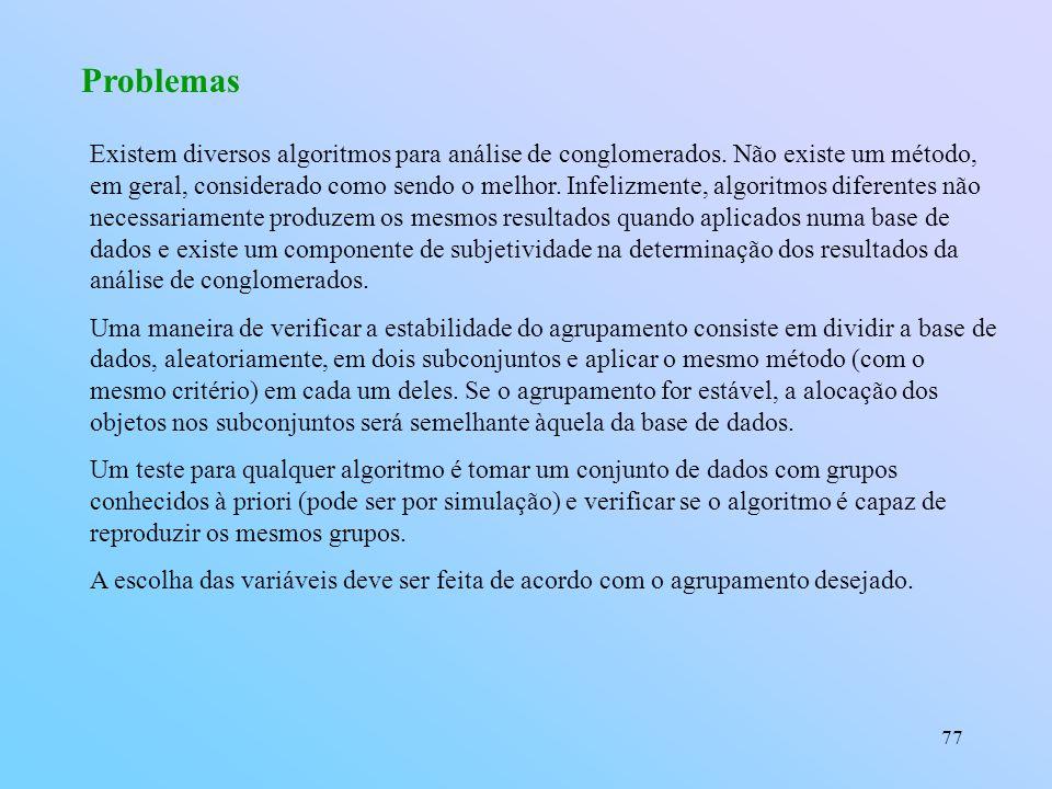 77 Problemas Existem diversos algoritmos para análise de conglomerados.