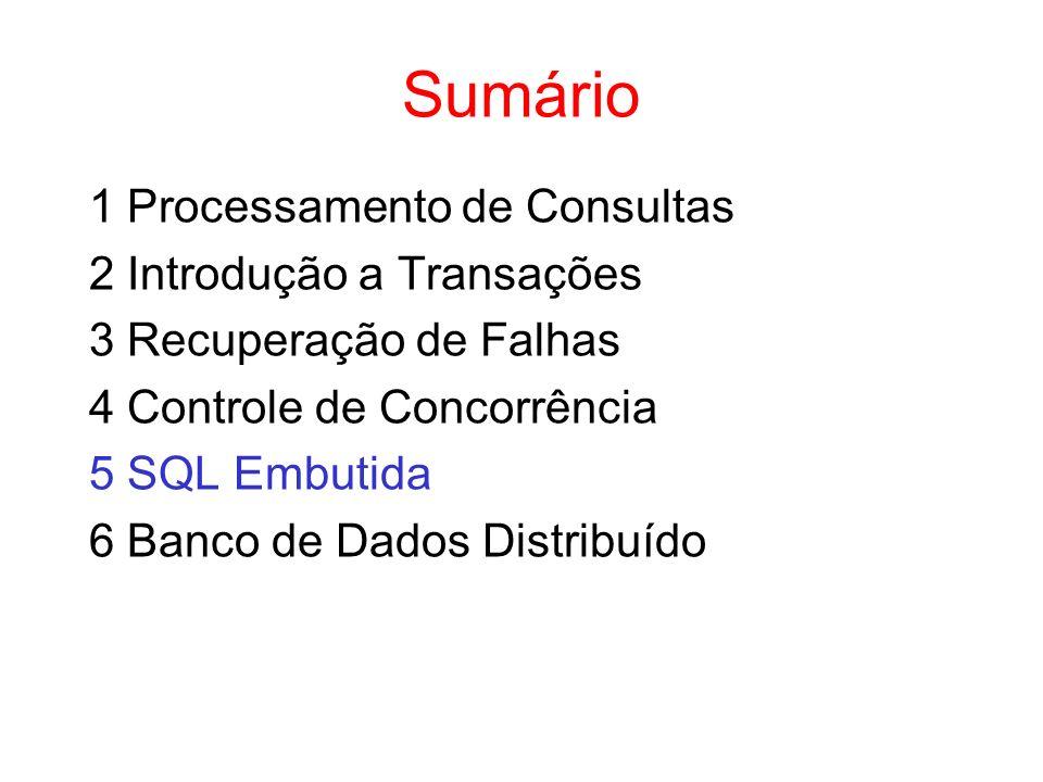Sumário 1 Processamento de Consultas 2 Introdução a Transações 3 Recuperação de Falhas 4 Controle de Concorrência 5 SQL Embutida 6 Banco de Dados Dist