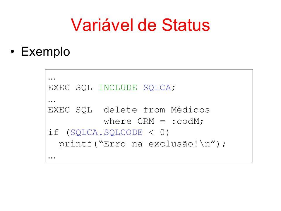 Variável de Status Exemplo... EXEC SQL INCLUDE SQLCA;... EXEC SQL delete from Médicos where CRM = :codM; if (SQLCA.SQLCODE < 0) printf(Erro na exclusã