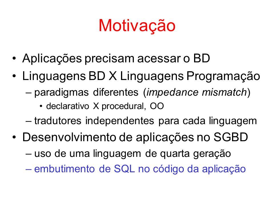 Motivação Aplicações precisam acessar o BD Linguagens BD X Linguagens Programação –paradigmas diferentes (impedance mismatch) declarativo X procedural
