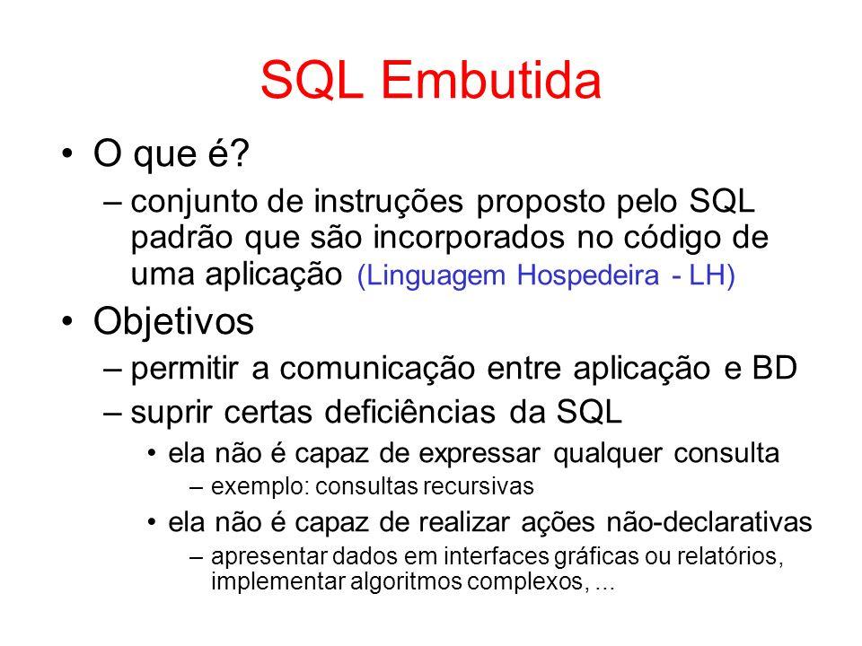 SQL Embutida O que é? –conjunto de instruções proposto pelo SQL padrão que são incorporados no código de uma aplicação (Linguagem Hospedeira - LH) Obj