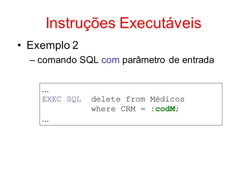 Exemplo 2 –comando SQL com parâmetro de entrada... EXEC SQL delete from Médicos where CRM = :codM;... Instruções Executáveis
