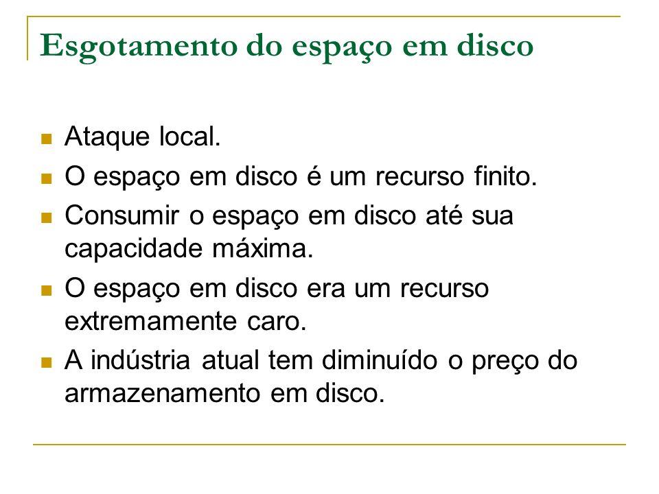 Esgotamento do espaço em disco Ataque local. O espaço em disco é um recurso finito. Consumir o espaço em disco até sua capacidade máxima. O espaço em