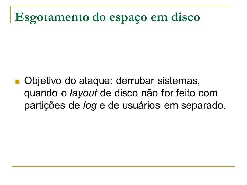 Esgotamento do espaço em disco Objetivo do ataque: derrubar sistemas, quando o layout de disco não for feito com partições de log e de usuários em sep