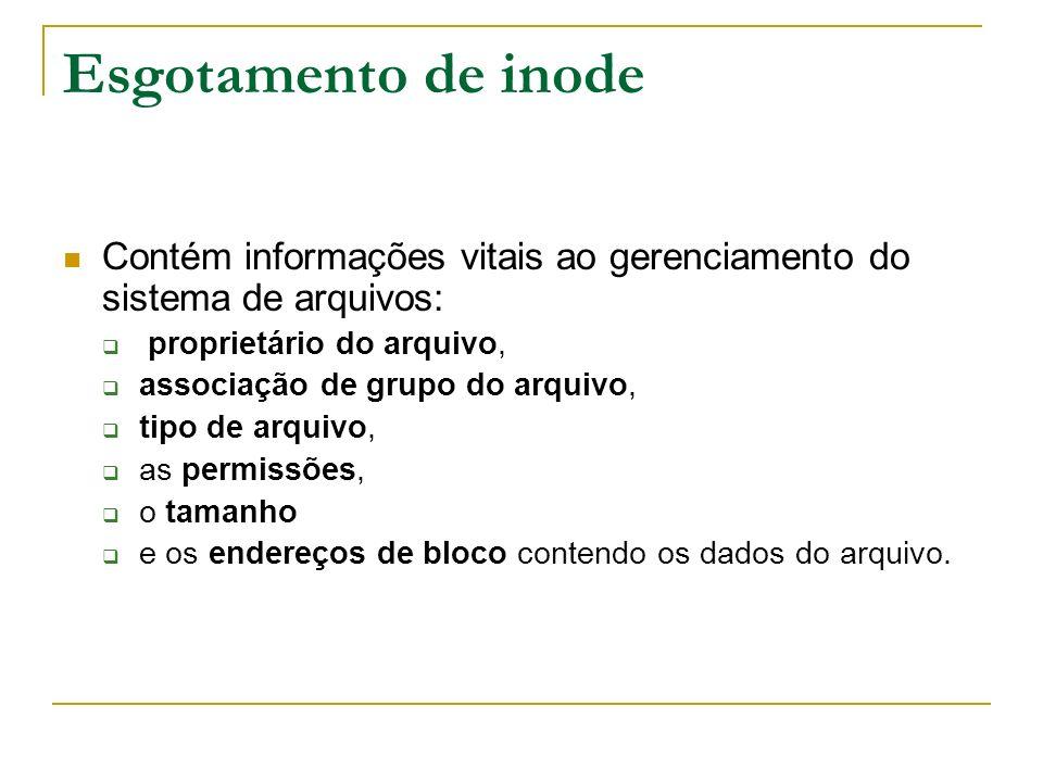 Esgotamento de inode Contém informações vitais ao gerenciamento do sistema de arquivos: proprietário do arquivo, associação de grupo do arquivo, tipo