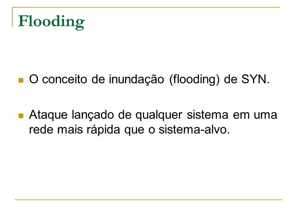 Flooding O conceito de inundação (flooding) de SYN. Ataque lançado de qualquer sistema em uma rede mais rápida que o sistema-alvo.