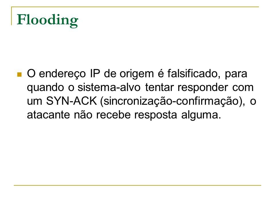 Flooding O endereço IP de origem é falsificado, para quando o sistema-alvo tentar responder com um SYN-ACK (sincronização-confirmação), o atacante não