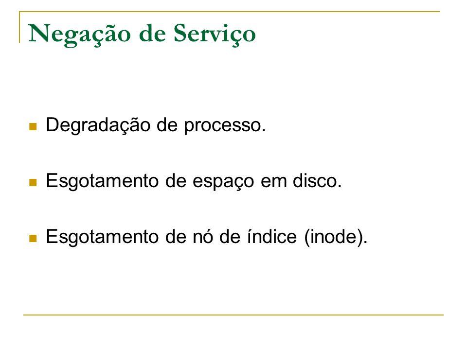 Negação de Serviço Degradação de processo. Esgotamento de espaço em disco. Esgotamento de nó de índice (inode).