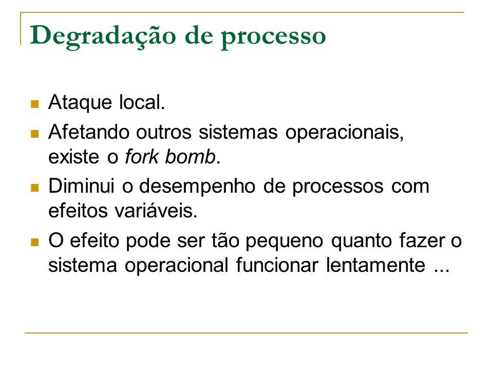 Degradação de processo Ataque local. Afetando outros sistemas operacionais, existe o fork bomb. Diminui o desempenho de processos com efeitos variávei