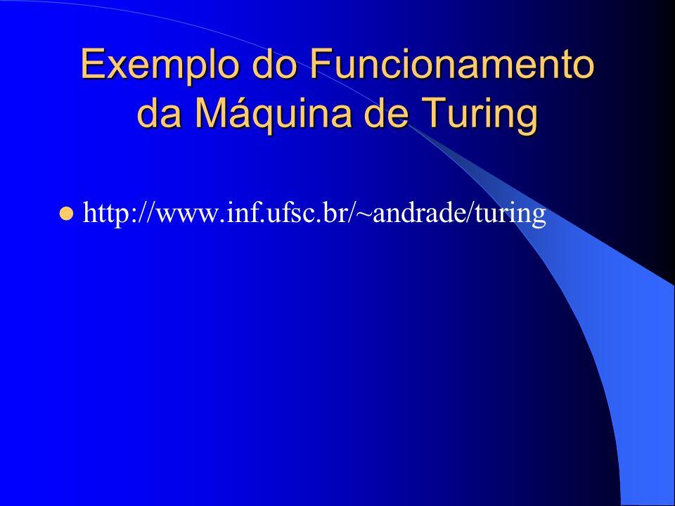 Exemplo do Funcionamento da Máquina de Turing http://www.inf.ufsc.br/~andrade/turing