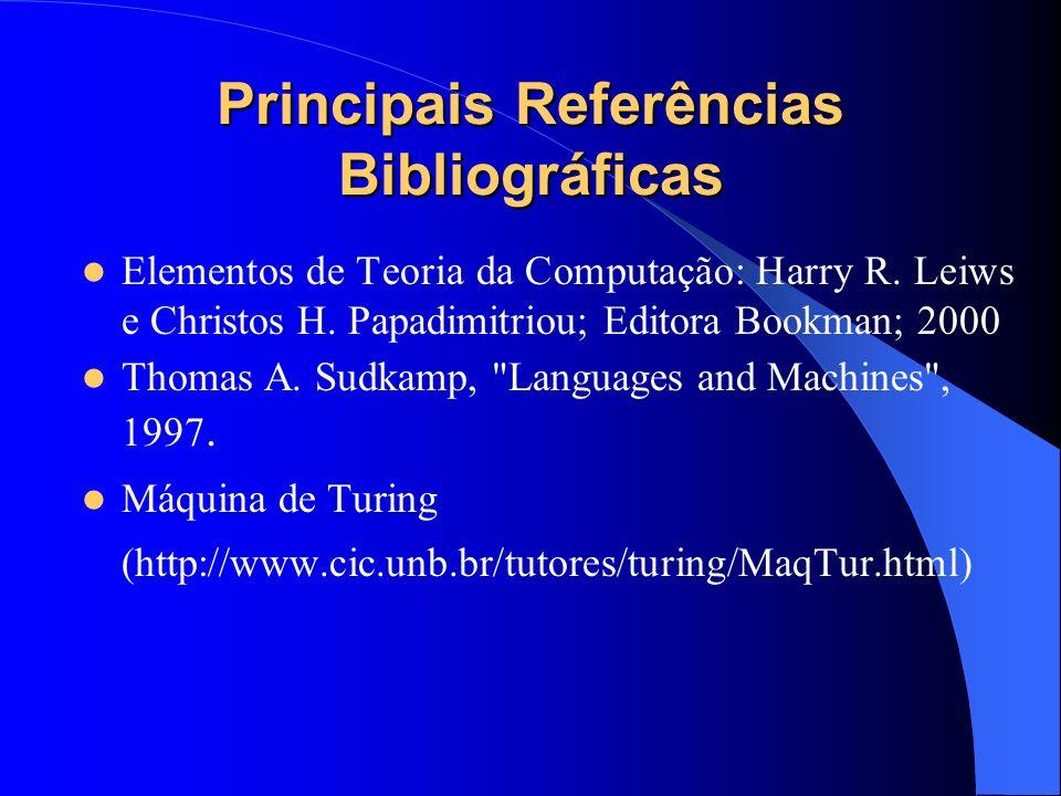 Principais Referências Bibliográficas Elementos de Teoria da Computação: Harry R. Leiws e Christos H. Papadimitriou; Editora Bookman; 2000 Thomas A. S