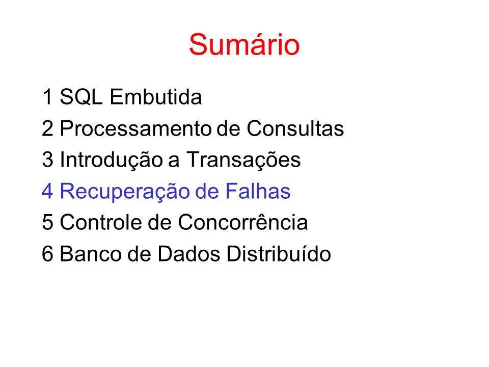 Sumário 1 SQL Embutida 2 Processamento de Consultas 3 Introdução a Transações 4 Recuperação de Falhas 5 Controle de Concorrência 6 Banco de Dados Dist