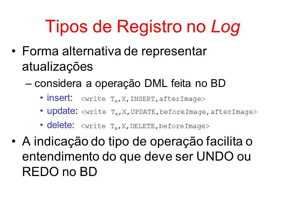 Tipos de Registro no Log Forma alternativa de representar atualizações –considera a operação DML feita no BD insert: update: delete: A indicação do ti