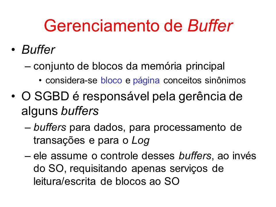 Gerenciamento de Buffer Buffer –conjunto de blocos da memória principal considera-se bloco e página conceitos sinônimos O SGBD é responsável pela gerê