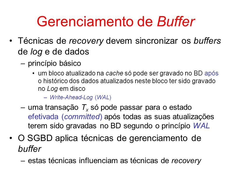 Gerenciamento de Buffer Técnicas de recovery devem sincronizar os buffers de log e de dados –princípio básico um bloco atualizado na cache só pode ser