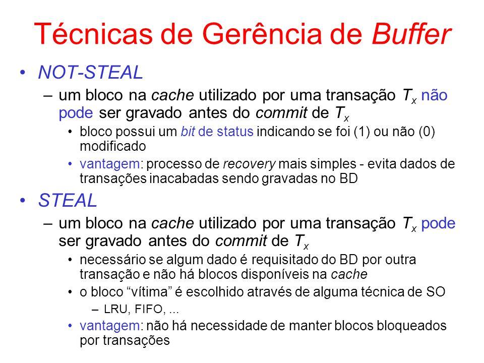 Técnicas de Gerência de Buffer NOT-STEAL –um bloco na cache utilizado por uma transação T x não pode ser gravado antes do commit de T x bloco possui u