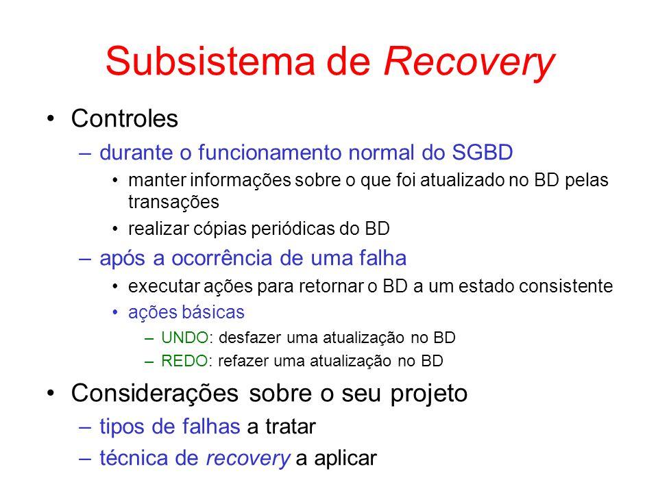Subsistema de Recovery Controles –durante o funcionamento normal do SGBD manter informações sobre o que foi atualizado no BD pelas transações realizar