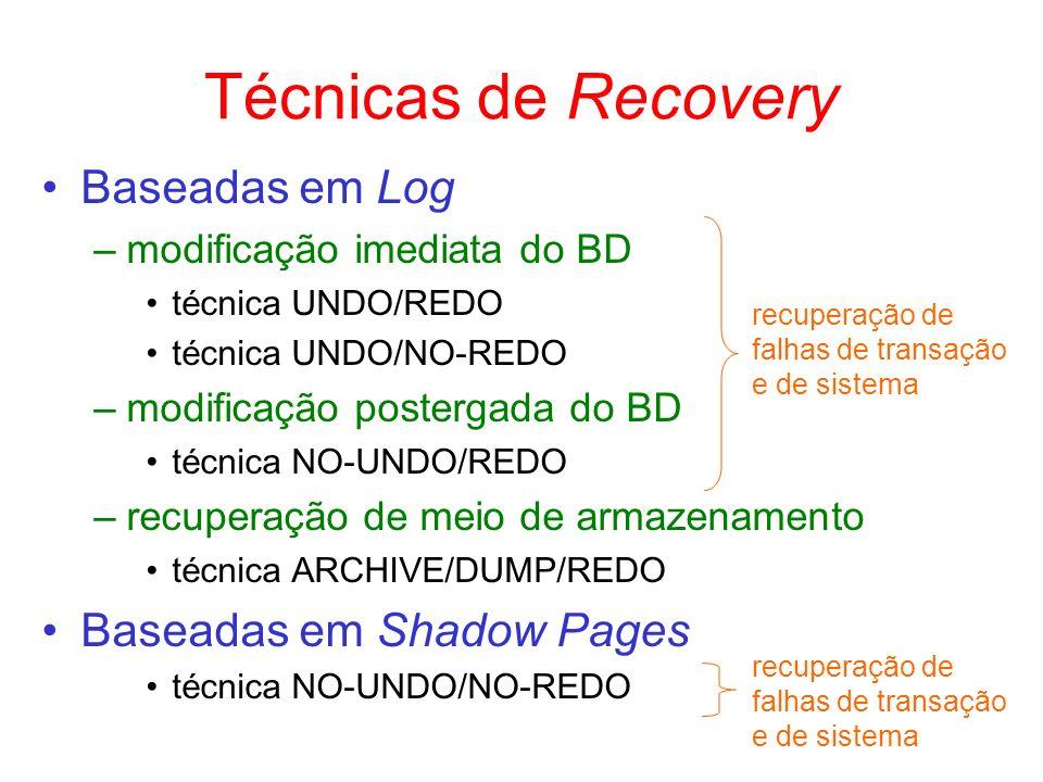 Técnicas de Recovery Baseadas em Log –modificação imediata do BD técnica UNDO/REDO técnica UNDO/NO-REDO –modificação postergada do BD técnica NO-UNDO/