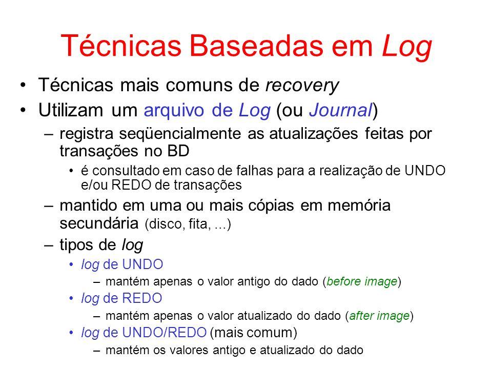 Técnicas Baseadas em Log Técnicas mais comuns de recovery Utilizam um arquivo de Log (ou Journal) –registra seqüencialmente as atualizações feitas por