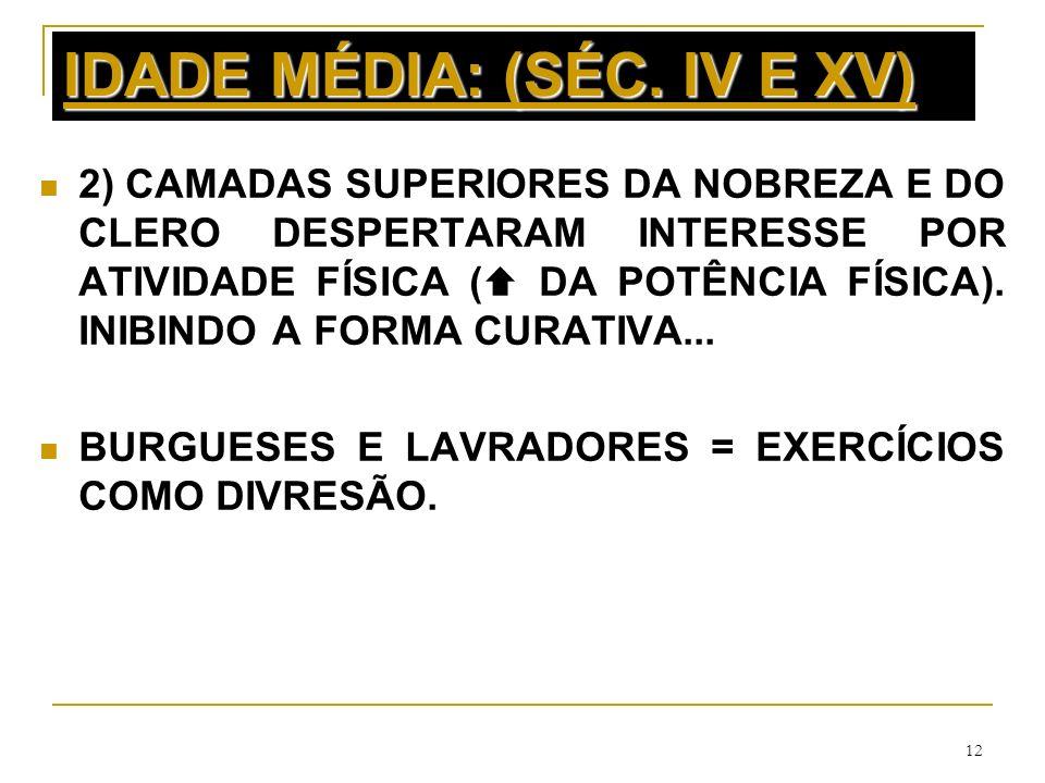12 IDADE MÉDIA: (SÉC. IV E XV) 2) CAMADAS SUPERIORES DA NOBREZA E DO CLERO DESPERTARAM INTERESSE POR ATIVIDADE FÍSICA ( DA POTÊNCIA FÍSICA). INIBINDO