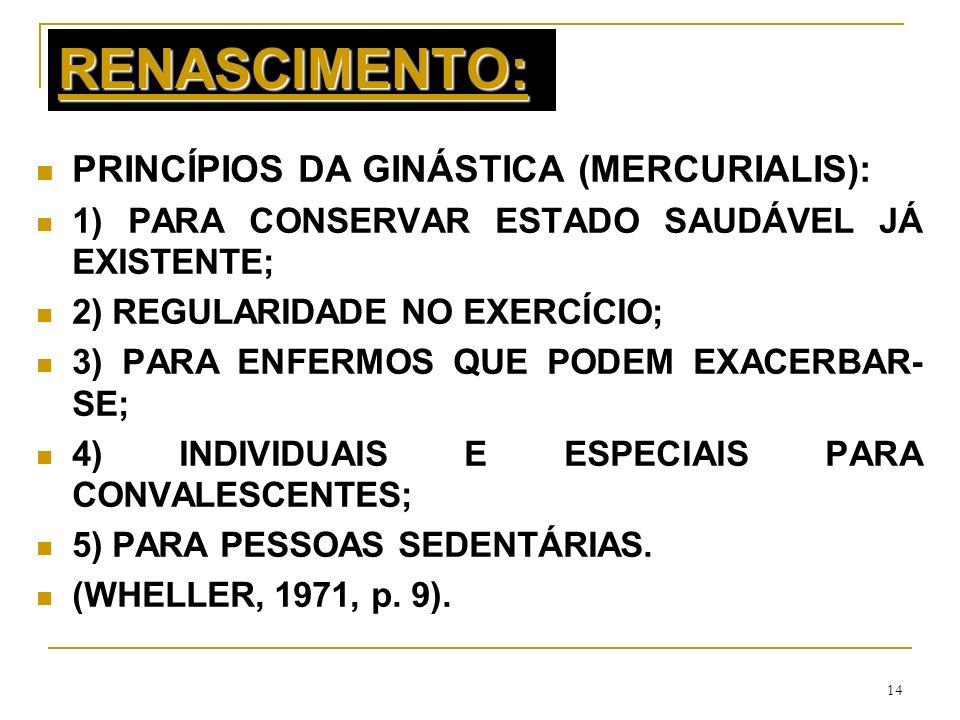 14 RENASCIMENTO: PRINCÍPIOS DA GINÁSTICA (MERCURIALIS): 1) PARA CONSERVAR ESTADO SAUDÁVEL JÁ EXISTENTE; 2) REGULARIDADE NO EXERCÍCIO; 3) PARA ENFERMOS